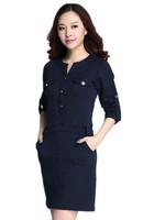 Free Shipping 2015 New Girls Button Pockets Long sleeve Fashion Dress Plus Size,european american style Dress  XL XXL XXXL XXXXL