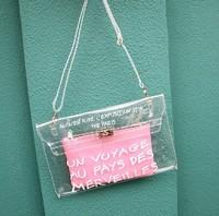 Free Shipping Lady New Fashion Women's Pink Handbag Plastic Crystal Transparent Bag Inside Small Bag Money Pack