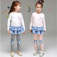 Free Shipping 2014 New Autumn Girls Rabbit Clothing set kids Flowers Suits Baby Cartoon dress + Pants Cartoon Clothes sets