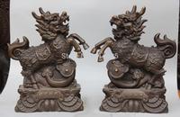 "14"" Chinese Fengshui Bronze Wealth Money Ruyi Dragon Beast Kylin Chi-lin Statue"