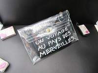 Free Shipping Black Color Lady Handbag Plastic Crystal Transparent Bag With Small Money Bag