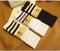 5pairs / lot Free shipping Harajuku cotton student high long socks student knee socks wholesale