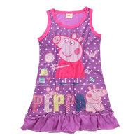 Free shipping 2014 New 2~6 Yrs Good Quality Girls Peppa pig dress 100% Cotton Baby Dresses Kids Printed dresses Cartoon Clothing