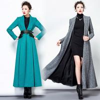 TWODS women's x long wool winter coats woollen overcoat green gray trench coat for women without button maxi outerwear