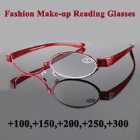 2015 New Arrival Women Making Up Reading Glasses 180 degree Rotating Single Lens Folding Reading Eyewear Free Shipping