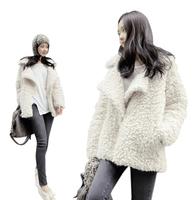 Wholesale 2014 winter Top Quality  Womens Lambs Wool Coat Thick Warm Fur coat ladies Coat Fleece Big Lapel Outerwear Jacket