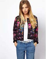 New 2014 Women's Print Flower Pattern Cotton Cardigan Slim Long Sleeve Down Jacket Winter Coat Down & Parkas