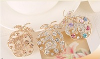 Newest Fashion Europe Style Leaves Shape Women's Crystal Brooches, Hijab Pins