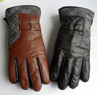 2014 PU leather man's gloves Male autumn and winter thermal thickening cold-proof Mittens XXL