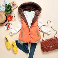 S-XXXL 2014 Autumn winter new fashion down vest women/Female winter hoodie slim fur lining vest/Hoodie down jacket waistcoat
