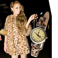 Leopard print genuine leather vintage strap watch women's inveted watch
