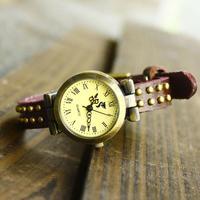 Handmade vintage roman dial rivets cowhide bracelet watch male women's watch