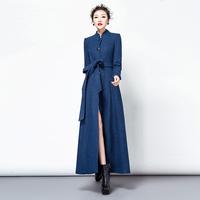 TWODS women's long wool winter coats woollen overcoat casacos femininos single-breasted independent design outerwear slim belt
