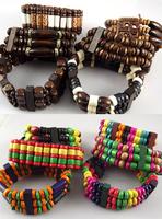 24pcs Mix Style Colourful Charm elastic Vintage Jewelry Natural Bamboo Wood Bracelets