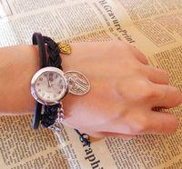 Fashion multicolor vintage jesus knitted cowhide belt watch male women's watch
