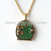 12pcs/Lot Free shippng Movie Jewelry Vintage Bronze Green Hobbit Door Locket Pendant Necklace