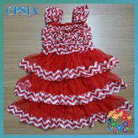 2014 Baby Satin Petti Chiffon Dress Red White Chevron Dress Cap Sleeve Girl Toddler Dress  24pcs