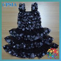 2014 Hot Sales Child Dress Spooky Halloween Black White Spider Ruffle Satin Dress Kid Dress 24pcs