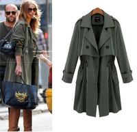 European 2014 New Fashion 2014 Women Autumn Coat Cotton Army Green Black Nibbuns Trench Coat Plus size M,XL, XXL, XXXL, 4XL,5XL