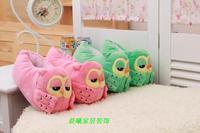 The new successor owl slippers, cute cartoon woman home floor warm cotton winter  slippers girls love with heel floor mop