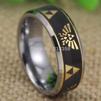 Cheap Price Free Shipping 2013 USA UK CANADA Hot Selling 8MM Legend of Zelda Golden Bevel Tungsten Ring Men's Wedding Band Ring