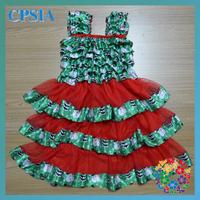 Fashion Baby Dress Cutting Satin Green Snowman Toddler Pretty Petti Dress 24pcs