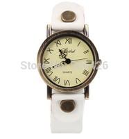 10pcs  Vintage Watch Bronze Women Mustache Watches Leather Strap Analog Ladies Quartz watches relogio Dropship antique