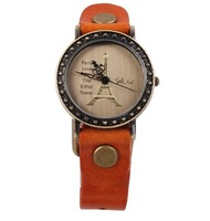 2014 New Ladies Leather watches Female 3color Retro Roman Digital Wristwatches with Eiffel Tower in Paris watch for women free