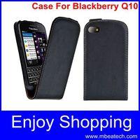 1 pcs free shipping Vertical Flip Genuine Leather phone Case For Blackberry Q10 Black