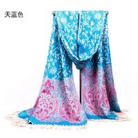 Sky blue 2014 New Fashion Women's Jacquard Winter Thick Keep Warm Pashmina Shaw Scarf Wrap Scarves 613129-9