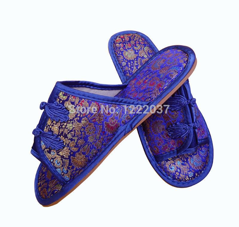 NEW BLUE CHINESE HANDMADE silk satin Women's/ MenS Shoes Slippers(China (Mainland))