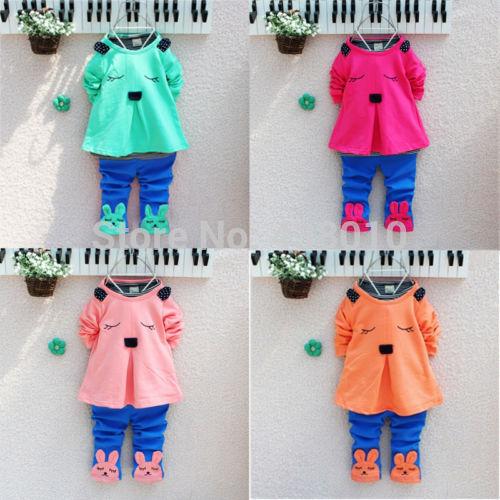 dropshipping 1pcs love clothing kids girls clothes sets,baby girl Bunny Rabbit top+ pant set Children kids clothing sets(China (Mainland))