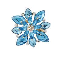 Fashion Unique Women Rhinestone Acrylic Blue Flower Brooch For Wedding,Free shipping