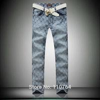 2014 Men L Brand Jeans Washed Light Blue Plaid Straight Slim Casual Jeans Fashion Plus Size Man Plaid Printed Famous Jeans