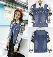 2014 Winter Wome Denim Jacket Padded Sleeve Cashmere Patchwork Sweater 100% Cotton Denim Outerwear 9839A