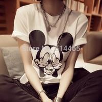 [Amy]  2014 new women's fashion t-shirt  Cotton women t shirt O-neck Short sleeve  Dot Female T Top 2color