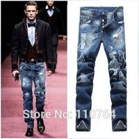 Top Fashion Men Brand Jeans DSQ Blue Washed White Button Fly Design Hole Patchwork D2 Famous Jeans 2014