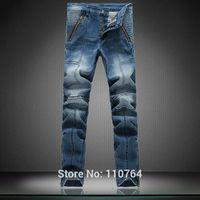 New Fashion Men Brand Jeans Paris Blue Washed White Pockets Zipper Open Design Balman Metal Button Slim Fit Famous Jeans 2014