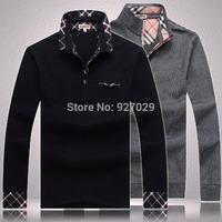 2014 New Arrival Mens Fashion Tees T Shirts Casual Classic Plaid Designer Emboroidery Flag Long Sleeves T-Shirts Men's T Shirt