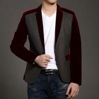 The 2014 autumn suit Men's cultivate one's morality leisure suit Color matching suit Men's suits