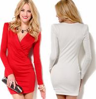 2014 Autumn women new Slim V-neck long-sleeved dresses party dress vestidos vestido de festa