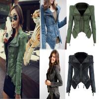 Denim  3 Colors  Black Green Blue Womens Punk Spike Studded Shoulder Vintage Denim Jacket Jeans coat Size S-2XL   /free shipping
