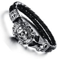 Fashion personality punk skull Crow evil heart really Pipi Sheng men titanium steel bracelet PH845