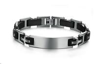 cool man wholesale fashion popular silver black silicone + stainless steel men's bracelet PH812