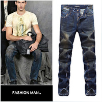 2014 Fashion Man D Jeans Brand Dark Washed Vintage Painted Design Famous Slim Jeans Pants European and American style