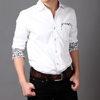 2014 New Men's Dress Shirts New Slim Fit Stitching Long Sleeve Social Shirts Men's Dress Shirts Casual Plus Size For MenXG50-238