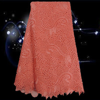 (5yards/lot)Item No.ESL9-4!peach!wholesale African cotton guipure lace fabric!top quality water soluble lace for women dress!