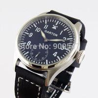 Details about 47MM GARTON black dial Special @6 MECHANICAL hand winding mens 6498 Watch 004