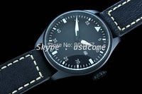 46mm Parnis Pilot Automatic Brushed Case Black Dial Leather Strap Watch