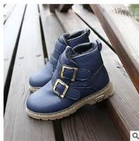 2014 winter boots boy child cotton-padded non-slip Martin boots plus velvet warm  Foot long 16 ~ 21.5cm